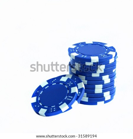 Gambling chips isolated on white background - stock photo