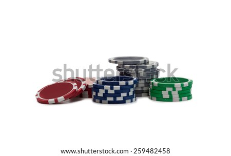 Gambling chips over white - stock photo
