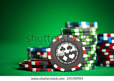 gambling chips with copy space... - stock photo