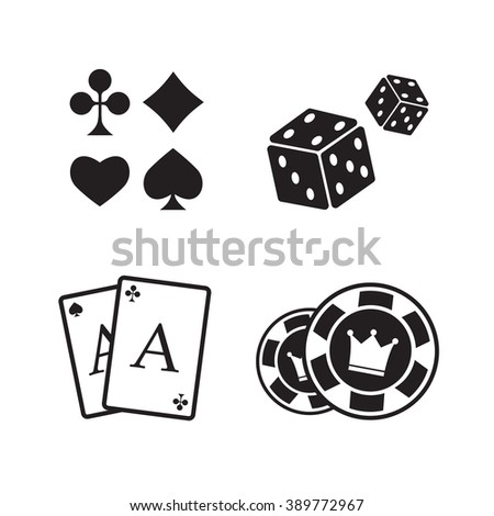 Gambling icons set. Card and casino, poker game