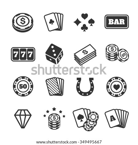 Gambling icons set. Card and casino, poker game, dice and ace. illustration
