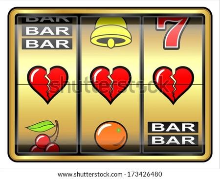 Gambling illustration, 3 broken hearts, concept failure in love  - stock photo