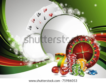Gambling illustration with casino elements - stock photo