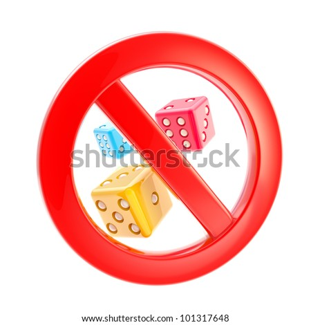 Gambling is not allowed forbidden sign isolated on white - stock photo