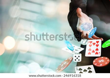 Gambling, male players - stock photo