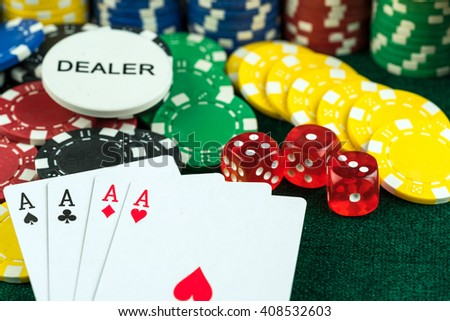 Gambling Red Dice Poker Cards and Money Chips