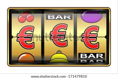 Gambling ,slot Machine. Business success, euros - stock photo