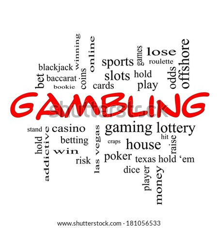 Gambling Word Cloud Concept in red caps with great terms such as winning, odds, casino and more.