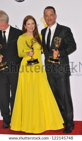 Game Change star Julianne Moore & Tom Hanks at the 64th Primetime Emmy Awards at the Nokia Theatre LA Live. September 23, 2012  Los Angeles, CA Picture: Paul Smith