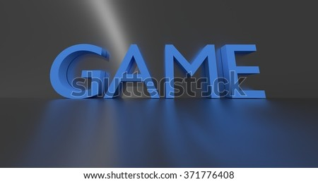 Game concept word - blue text on grey background.