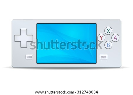 Game console portable white icon isolated on white background. Multimedia Video or Computer Games illustration - stock photo