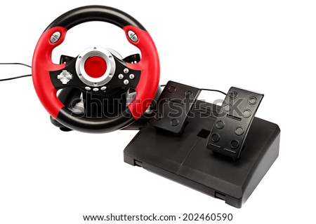 Game console with a steering wheel and pedals isolated on white background.