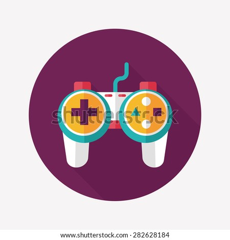 Game controller flat icon with long shadow - stock photo