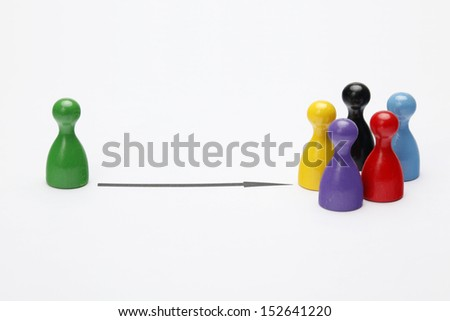 Game figurines - Symbol for Teamwork - stock photo