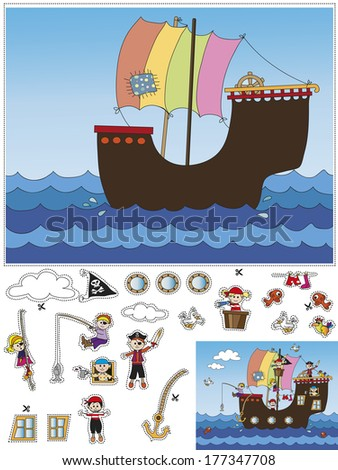 game for children: cut and paste - stock photo