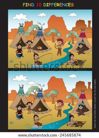 Game for children : find ten differences - stock photo