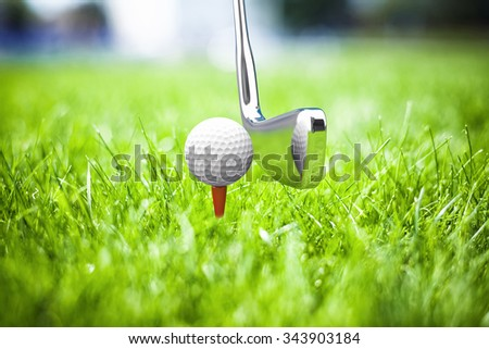 Game in a golf on a beautiful green grass