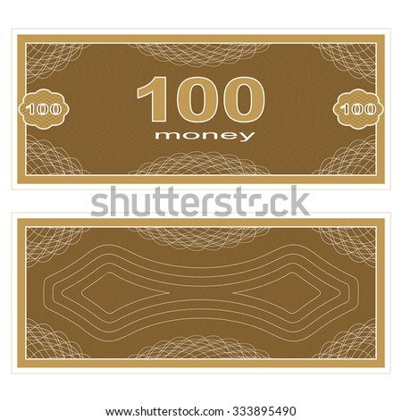 Game money. Set on a white background. Banknote one hundred money.