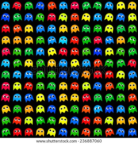 Game monsters seamless generated pattern - stock photo