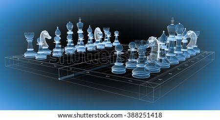 game of chess on the board, frame, wire model