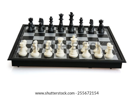 Game of chess on the white background. - stock photo