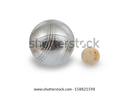 Game of jeu de boule, silver metal ball close to the small wooden ball. A french ball game - stock photo