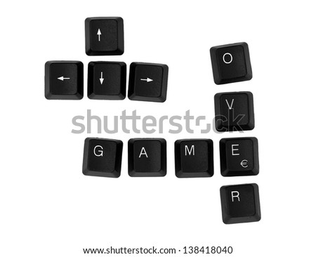 GAME OVER sign written on a keyboard. Isolated on a white background. - stock photo