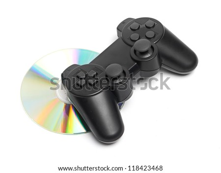 Game Pad and a CD isolated on a white background - stock photo