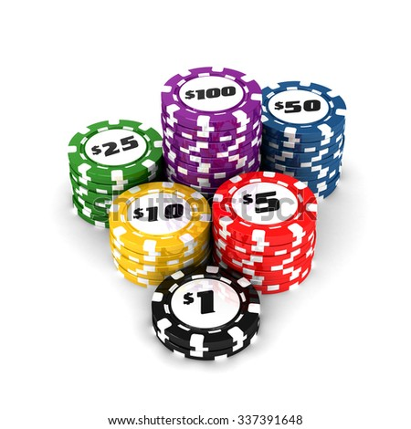 Game priced chips isolated on white background. High quality 3d render. - stock photo