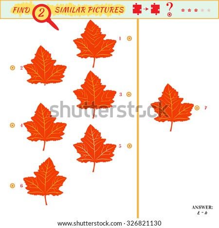 Game puzzles find similar image between two. Education matching game for preschool children. Visual puzzle game for kid. Quiz game. Cartoon leaves - stock photo