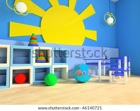 Game zone in a children's room 3d image