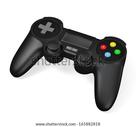 Gamepad joypad for video game console isolated on white background - stock photo