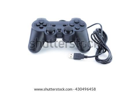 Gamepad Joystick on white background,  play game usb port  control isolated   - stock photo