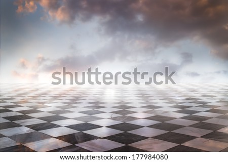 Gamero chess, pieces marble floor - stock photo