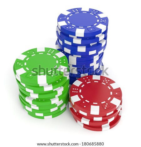 Gaming chips isolated on white background. Clipping path included. - stock photo