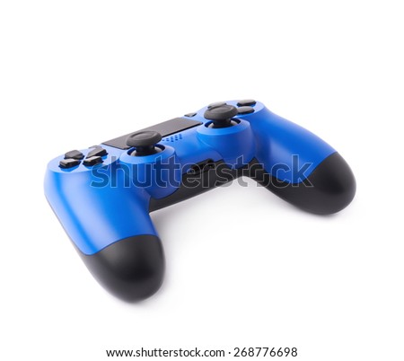 Gaming console blue plastic analog controller gamepad device isolated over the white background - stock photo
