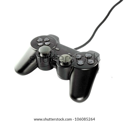 gaming console on white background - stock photo