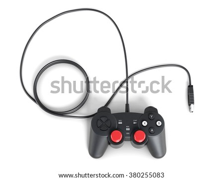 Gaming joystick with cable on white background. 3d rendering.