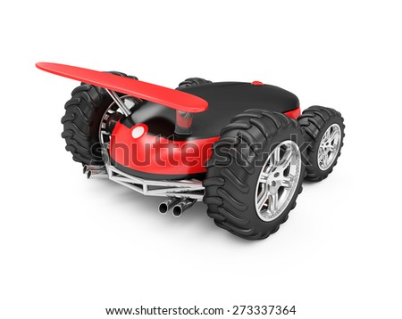 Gaming or Delivery Computer Mouse Concept. Modern Computer Mouse on Wheels isolated on white background