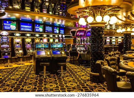 Gaming slot machines in gambling casino, Cruise liner Splendida, MSC - stock photo