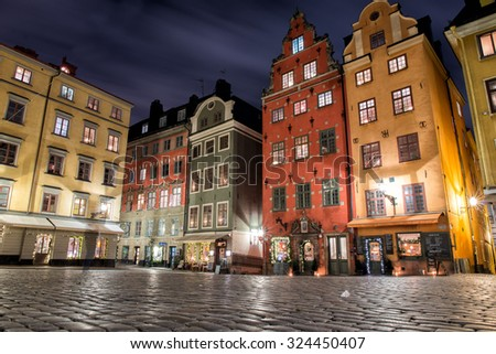 gamla stan place night view