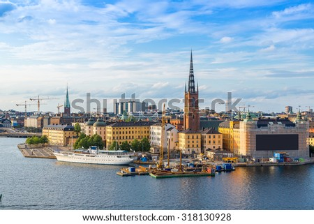 Gamla Stan, the old part of Stockholm, Sweden in a summer day - stock photo