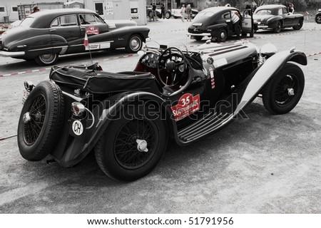 "GAMLITZ-APRIL 24:Jaguar SS 100 from 1937  on rally vintage cars ""Suedsteiermark Classic""April 24,2010 in Gamlitz,Austria. - stock photo"