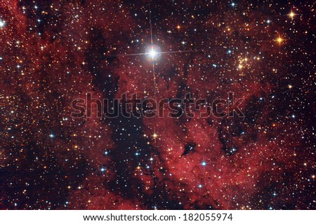 Gamma cygni nebula in Cygnus constellation - stock photo