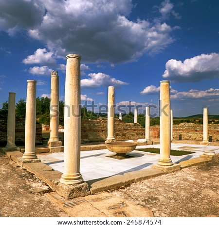 Gamzigrad-Romuliana is a Late Roman palace and memorial complex built in the late 3rd and early 4th centuries, commissioned by the Emperor Galerius Maximianus. Serbia, Unesco world heritage site - stock photo