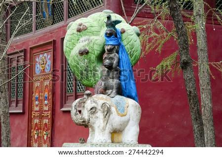 Gandan Monastery Statue - Ulaanbaatar - Mongolia - stock photo