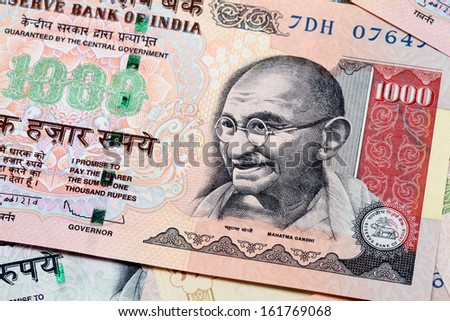 Gandhi on Indian currency note - stock photo