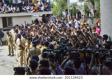 GANDHINAGAR, GUJARAT/INDIA - MAY FRIDAY 16TH 2014 : Media ready to take photographs of  Gujarat Chief Minister and Prime Minister Candidate Narandra Modi  in Gandhinagar,Gujarat.