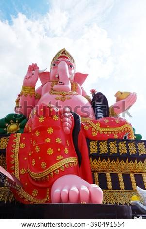 Ganesh sitting on a throne  - stock photo