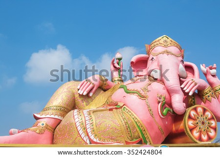 Ganesh statue in Chachoengsao province of thailand - stock photo